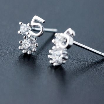 "Personalized fashion ""5"" 925 sterling silver zircon earrings, a perfect gift"