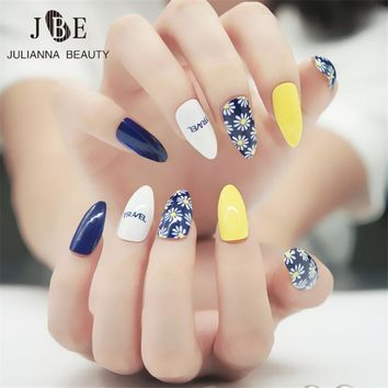 Elegant Fashion Daisy Printing Fake Nail Tips 24PCS/set Finished False Stiletto Nail Acrylic Design Almond Full False Nail Tips