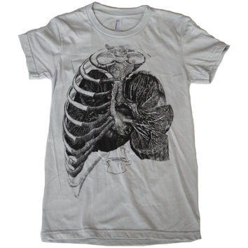 Womens Rib Cage and LUNGS T Shirt - Natural History American Apparel Screen Print
