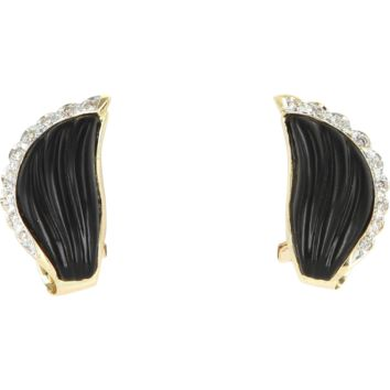 Vintage Fluted Onyx Diamond Cocktail Earrings 14 Karat Yellow Gold Estate Jewelry