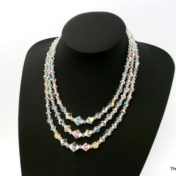 Triple strand AB Aurora Borealis clear crystal bead choker style necklace