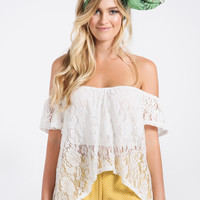 Tori White Lace Off the Shoulder Top