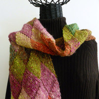 Multicolored Entrelac Knitted Stole or Scarf