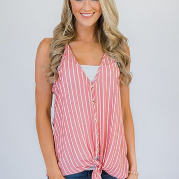 Keep Me Satisfied Striped Tank Top- Pink