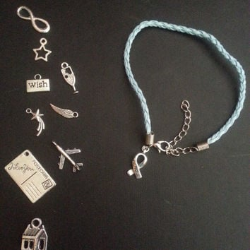 The Fault In Our Stars Inspired Leather Cord Bracelet - Multiple Charms to choose from