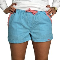 Lounge Short in Turquoise Seersucker by Frat Collection - FINAL SALE