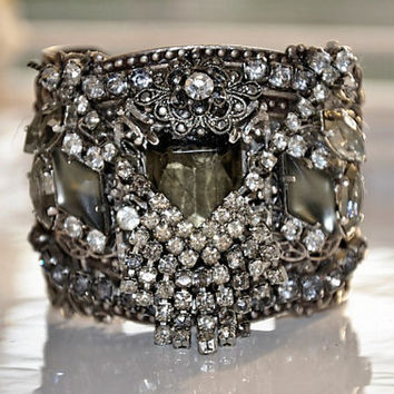 Swarovski Crystal BLACK DIAMOND cuff bracelet  by cynthiacouture