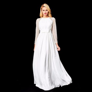 Lace Long Sleeves Beading Backless A-line Bow Elegant Party Formal Dress Floor Length Evening Dresses