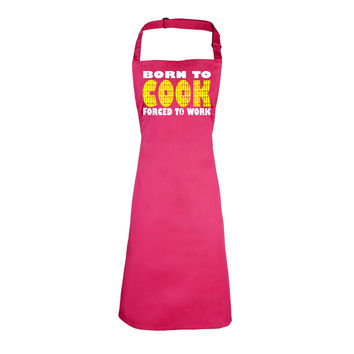 123t USA Born To Cook Forced To Work Funny Apron