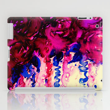 PETALS ON PARADE, Oxblood Marsala Red Royal Blue Floral Abstract Watercolor Roses Flowers Painting iPad Case by EbiEmporium