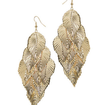 Casted Leaf Chandelier Earring   Shop Jewelry at Wet Seal