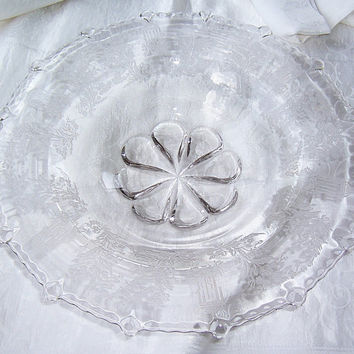 Clear Depression Glass Paden City, Paden City WV Glassware, Decorative Art Glass, Beaded Edge Gazebo Etched Design, American Clear Art Glass