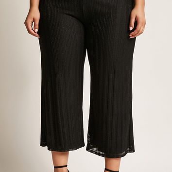 Plus Size Metallic Knit Wide-Leg Pants
