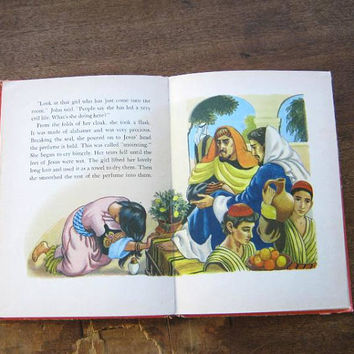 Vintage Children's Christian Book, People Jesus Loved (Stories of Jesus/Bk 5) by Betty Smith~Midcentury Christian Color Illustrations
