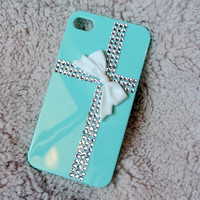 Teal Tiffany Present Style Apple Iphone 4 4s case, whith Rhinestone Crystal Fackback