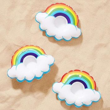 3pcs Mini Lovely Colored Rainbow Clouds Inflatable Water Drink Cup Holder PVC Toys Wedding Birthday Party Supplies Swimming Pool