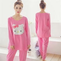 GOPLUS Cartoon Hello Kitty Pajamas Sets