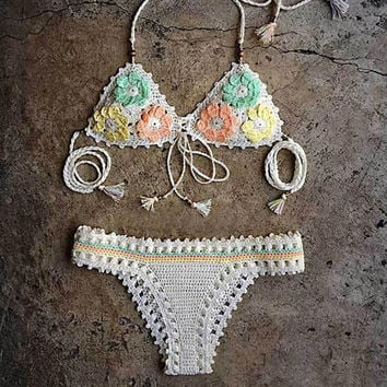 Crochet Flowers Beach Bikini Set Swimsuit Swimwear