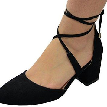 Chase amp Chloe Womens Crisscross Laceup Ankle Tie Closed Pointed Toe Chunky Block Mid Heel Pump