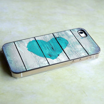 Turquoise Rustic Heart Clear iPhone Case - Color like Tiffany Blue