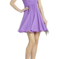 Duran Strapless Dress With Skirt Drape - Purple