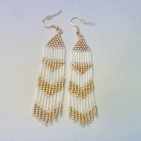 Whtie And Gold Native American Style Seed Bead Dangle Earrings
