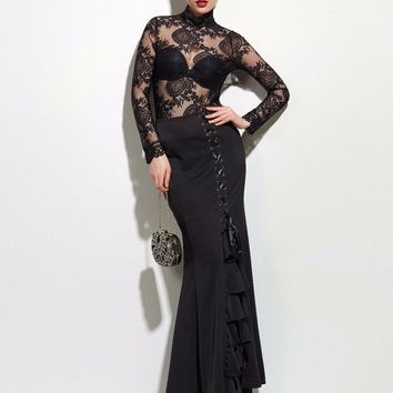 Women Sexy Fishtail Corset Bottoms Vintage Lace-Up Long Frilly Skirt Slim Floor-Length Trumpet Sexy Gothic Style Mermaid Skirts