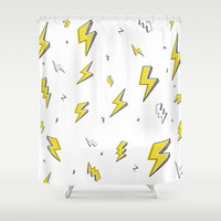 'Electric Feelings' <> Lightning Pattern Shower Curtain by Label's