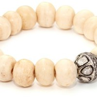 Borgioni Rose Cut Vintage Ball on Creamy Bone Beaded Bracelet - Like Love Buy