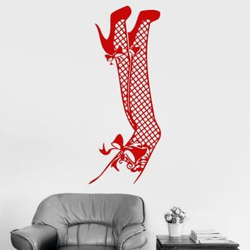 Vinyl Wall Decal Sexy Woman Legs Fishnet Stockings Bedroom Stickers Unique Gift (ig3012)