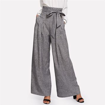 High Waist Self Belted Box Pleated Palazzo Pants Female Grey Loose Pants Elegant Work Trousers Women Wide Leg Pants