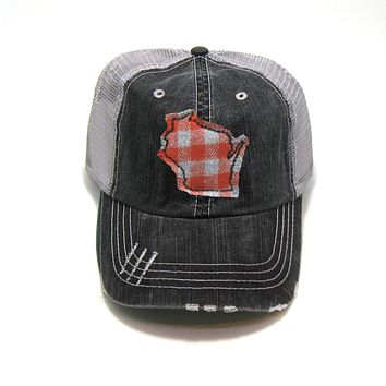 Wisconsin Trucker Hat - Gray Distressed - Orange Buffalo Check