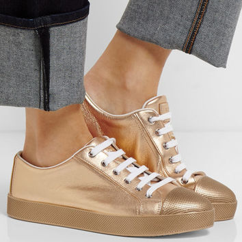 Prada - Metallic textured-leather sneakers