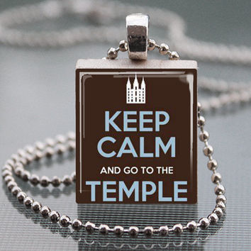Keep Calm and Go to the Temple  LDS mormons Scrabble Tile Pendant Necklace