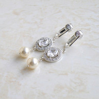 Bridal Clip on Earrings Oval Cubic Zirconia Halo Swarovski Ivory Pearl Silver Dangle Cynthia E9Clip
