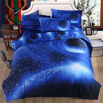 2016 New Hipster Galaxy 3D Bedding Set Universe Outer Space Themed Galaxy Print Duvet Cover Bed Sheets 4/3pcs Bedlinen