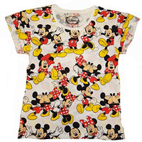 Disney Mickey And Minnie Emote Toss Juniors T-shirt