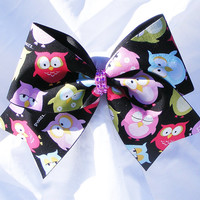 Cheer bow- Owls multi colored on black  pink rhinestone center bow - cheerleading bow- cheerleader bow- dance bow- softball bow- cheerbow