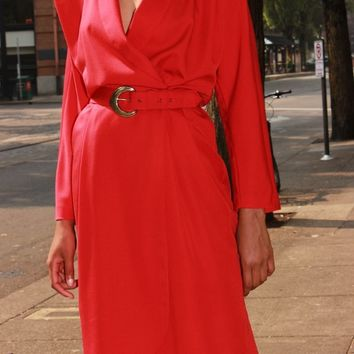 80s Red Belted Wrap Dress / M L