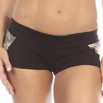 Sexy Unbroken Honor Military Universal Green Scrunch Back Work Out Shorts - Black/Green