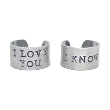 Star Wars I Love You I Know Quote Hand Stamped Aluminum Cuff Rings