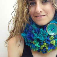 Warm Neck Warmer, Double Layer scarf, Turquoise, Blue and Lime Green infinity Scarf with Large Button