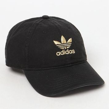 Relaxed Black and Gold Strapback Dad Hat | PacSun