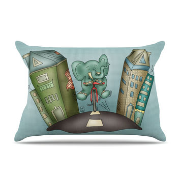 "Carina Povarchik ""Life is Good"" Elephant Blue Pillow Case"