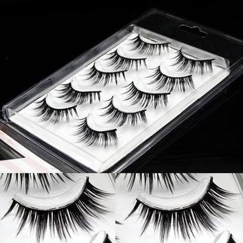 5 Pairs False Eyelashes Pure Handmade Cotton Stalk Fake Eyelashes Natural Long Crisscross Thick Soft Realistic Makeup Lashes