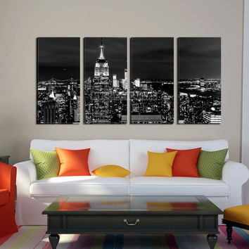 Large Wall Art NEW YORK Canvas Prints - Black and White New York Skyline with Empire State Building