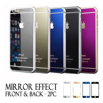 Front and Back Colored Mirror Tempered Glass Screen Protector iPhone 8 & 8 Plus