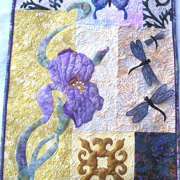 Fiber art quilt - Appliqued Iris, Butterfly and dragonflies,  Oh My