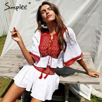 Simplee Boho embroidery two-piece romper women jumpsuit  Ethnic tassel lace up white playsuit 2018 Summer beach jumpsuit macacao
