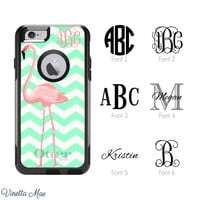 iPhone Otterbox Case for iPhone 5, 5s, 6, 6 Plus Monogrammed Retro Pink Flamingo with Initials Personalized Otterbox Cell Phone Case 1165